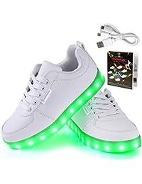 Angin-Tech LED Schuhe 7 Farbe USB Aufladen LED Leuchtend Sport Schuhe Sportschuhe LED Sneaker Turnschuhe für Unisex-Erwachsene Herren Damen mit CE-Zertifikat