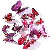 12 Pezzi Farfalle Adesivi Murali,3D Adesivi Murali da Parete per Casa,Camera dei Bambini e Stanza delle Ragazze-Viola