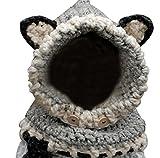 Outflower 2Pcs Chapeau écharpe Bébé Bonnet Tricoté Écharpe Ensemble Mignonne Bébé Garçons Filles Costume en écharpe Chapeau d'hiver pour Enfants(Gris)