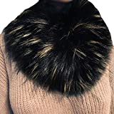 Fenverk Frau Schal Mode Kunstpelz Nachahmung Gras Schals Leopard Drucken Zum Damen TüCher Wraps Im Geschenke Ihr Mama Warm(Schwarz)