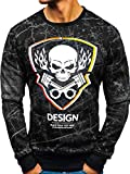 BOLF Herren Sweatshirt ohne Kapuze Aufdruck Rundhalsausschnitt Sportlicher Stil J.Style DD652 Schwarz XXL [1A1]