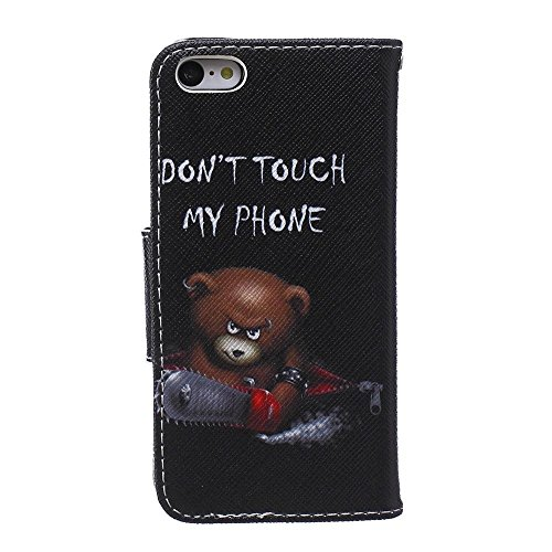 KATUMO® Hülle für Apple iPhone 5C, PU Leder Tasche Wallet Case Cover Book Style im Portemonnaie Design Handyhülle iPhone 5C Handytasche Etui Schale,Teddybär Teddybär