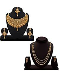 YouBella Fashion Jewellery Gold Plated Combo Of Two Traditional Necklace Set For Women Party Wear And Wedding... - B07D7GJWD9