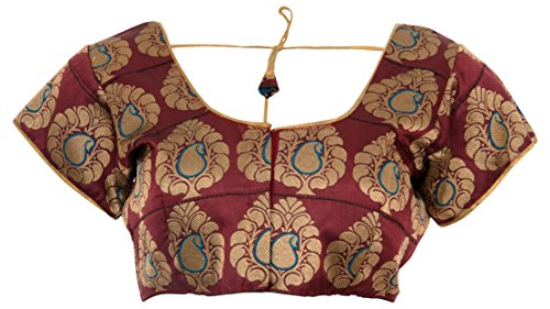 Paithani Fabric Women's Art Silk Mango Designed Motif Saree Blouse In Maroon colored  available at amazon for Rs.799