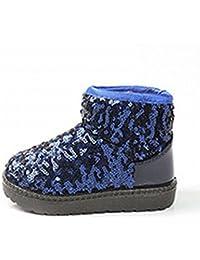 Botas de Nieve de Invierno para Niños de Color Caramelo Y Lentejuelas con Lentejuelas,Azul,23
