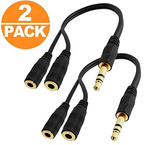 Act 3,5 mm Kopfhörer Audio Splitter Kabel für Lautsprecher Laptop Smartphone 20 cm mit Aluminium Fall Headphone Mic Cable(2Pack)Black (Y-Kabel 3,5mm)
