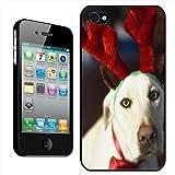 Fancy A Snuggle Hartschale/Rückschale für Apple iPhone 4 / 4S, zum Aufstecken, Motiv 'Dog Wearing Reindeer Antlers In The Festive Spirit' (Hund mit Rentiergeweih)