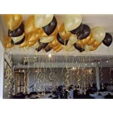 Themez Only Metallic HD Party Balloons (Gold, White And Black) - Pack of 50