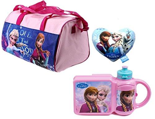 Disney frozen il regno di ghiaccio - borsa da viaggio per bambini, set da 3 (borsa sportiva, cestino per il pranzo, bottiglietta)