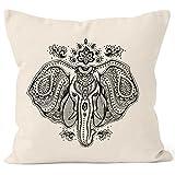 Kissenbezug Kissen-Hülle Mandala Elefant Elephant Boho Ethno Deko-Kissen 40x40 Baumwolle Autiga® natur 40cm x 40cm