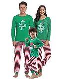 Aibrou Winter Damen Weihnachten Lang Pyjama Set, Grün Schlafanzug Langarm Shirt und Pyjamahose S