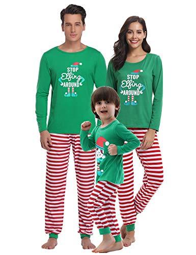 Weihnachten Lang Pyjama Set, Grün Schlafanzug Langarm Shirt und Pyjamahose S ()