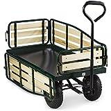 Waldbeck Ventura - Remorque de transport à main, chariot de manutention carriole pour jardin, travaux (charge max de 300kg, panneaux latéraux rabattables, roues pneumatiques sur suspensions)