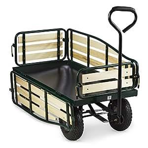 Waldbeck Ventura - Remorque de Transport à Main, Chariot de manutention carriole pour Jardin, travaux (Charge Max de 300 kg, Panneaux latéraux rabattables, Roues pneumatiques sur suspensions)