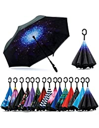 Home Buy Double Layer Inverted Reversible No Drip Umbrella with C Shape Handle - Multi Color