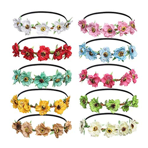 en Stirnbänder Krone Girlande - Frauen Mädchen Mehrfarbig Blume Girlande für Festival Hochzeit Party (E-Mixed Farb 10 Stück) ()