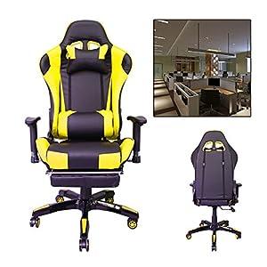 51F9QEw1RhL. SS300  - HG-Silla-giratoria-de-oficina-Silla-de-carreras-Silln-ejecutiva-Apoyabrazos-tapizados-de-primera-calidad-Capacidad-de-carga-200-kg-Ergonoma-Silla-de-oficina-de-oficina-ejecutiva-ajustable-negra