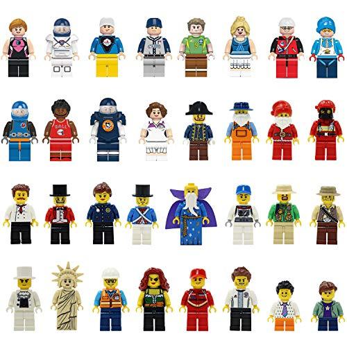 Mini-Figuren Set-32 Stück Minifiguren Set Berufe, Bauklötze Gemeinschaft Menschen aus Verschiedenen Branchen abgeschlossen, Bausteine Kinder Pädagogisches Spielzeug Geschenk (32 Mini People)