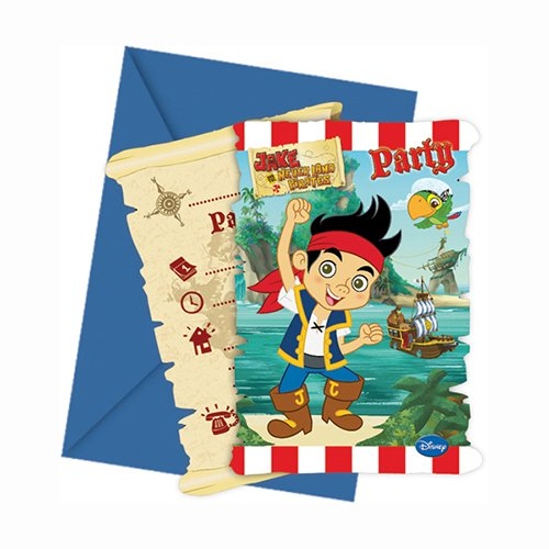Disney Yo Ho Jake und die nie Land Piraten Party Einladungen, 6Stück