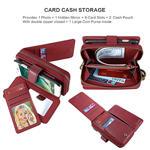 iPhone 6/6S/7 Zipper Wallet, FLOVEME Multi-Funcition Flip Folio Leather Case Premium Credit Card Holder Detachable Magnetic Back Cover with Lanyard Wrist Hand Strap for Apple iPhone 6, iPhone 6S, iPho Red