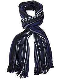 styleBREAKER Feinstrick Herren Schal im Streifen Look, Strickschal mit Fransen, weich und warm 01018117