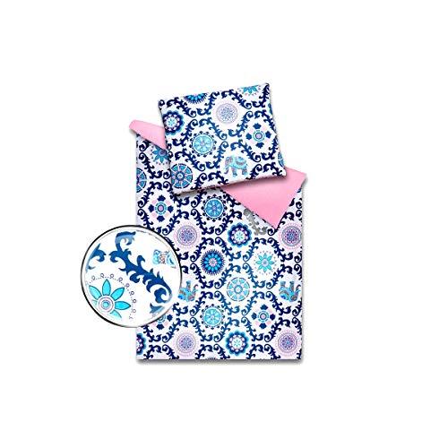 Baby Bettwäsche Garnitur mit Füllung Kinderwagenset Decke Kissen zweiseitig Wiege 100% Baumwolle (Rosa Rosette) -