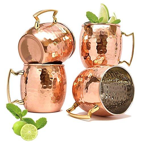 18 Unzen Moscow Mule Copper Mug Set Von 4, Royale Hammered Handgemachte Edelstahl Futter Für Männer Und Frauen Gut Für Bier Ingwer Bier Cocktails Towle Cocktail