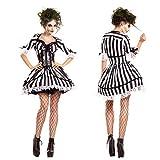 Schwarz-Weiß Gestreifte Geister Braut Kostüm Vampir Ritter Kostüm Zombie-Kostüm Cosplay Halloween Kostüm Make-Up-Party Niedliche Damen Accessoires,XL