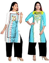 Prateek Export Cotton Printed Straight Long Kurti/Kurta - B07D328KNQ