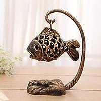 LXYFMS Candelabro de Pescado de Hierro Fundido aromaterapia Estufa Personalidad candelabro Retro Ornamento 26x16cm Candelero