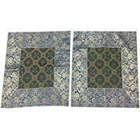 Mogul Interior 2 Boho Toss Pillow Case Vintage Silk Sari Patchwork Cushion Cover 16X16 (Green-3)
