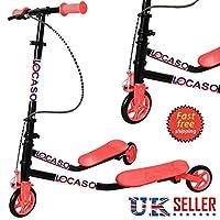 Techstyleuk®New Kids 3 Wheel Tri Speeder Winged Kick Scooter Push Motion Large Drifter UK