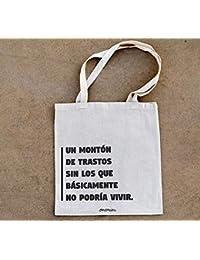 f3fcdbb60 Okemaku - Tote Bag Mensaje: Un montón de trastos sin los Que básicamente no  podría Vivir - Bolsa de algodón…