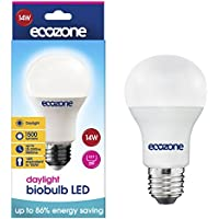 Ecozone LED Bio Bulb, Energy Saving, Screw Cap E27 Fitting, Bright Daylight, 14W Equivalent to 100W, 1500 Lumens, 6500K Daylight, Up To 86% Energy Saving, Up To 25,000 Hours Lifetime, Energy Class A+
