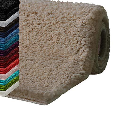 casa pura Badematte Hochflor Sky Soft | Weicher, Flauschiger Badezimmerteppich in Shaggy-Optik | Badvorleger rutschfest waschbar | schadstoffgeprüft | 16 Farben in 6 Größen (80x150 cm, beige)