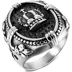 MunkiMix Acero Inoxidable Anillo Ring Plata Tono Negro Celta Celtic Medieval Cruzar Cruz La Flor De lis Talla Tamaño 17 Hombre