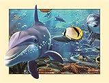 TianMai Heiß Neu Version 3.0 HD DIY 5D Diamant Malerei Kit Kristalle Diamant Stickerei Strass Malerei Kleben Malen nach Zahlen Stich Kunst Kit Zuhause Dekor Mauer Aufkleber - Meeresgrund Delfin, 45x35cm