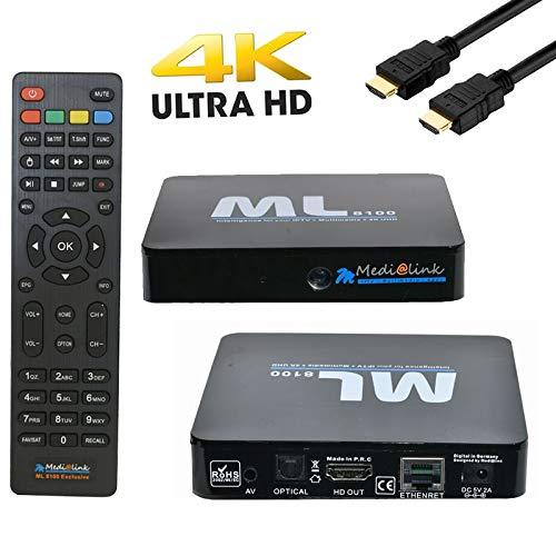 Top Full Set (Medialink ML8100 IPTV Set Top Box 4K Full UHD 60fps SE - schwarz)