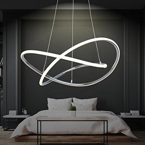 LED Pendelleuchte Dimmbar, Warmweiß, Ø 60cm, Höhenverstellbar, Ringe, Küchen Hängelampe, Wohnzimmer Designleuchte, Deckenlampe Schlafzimmer