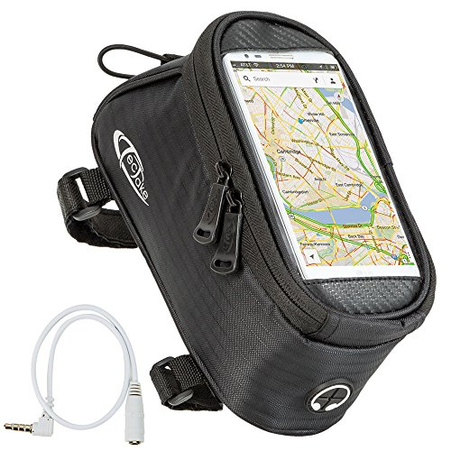 TecTake Handy Rahmentasche Oberrohrtasche wasserabweisend Navigation Halterung für Fahrrad - diverse Farben und Größen - Schwarz | Größe M | Nr. 401614