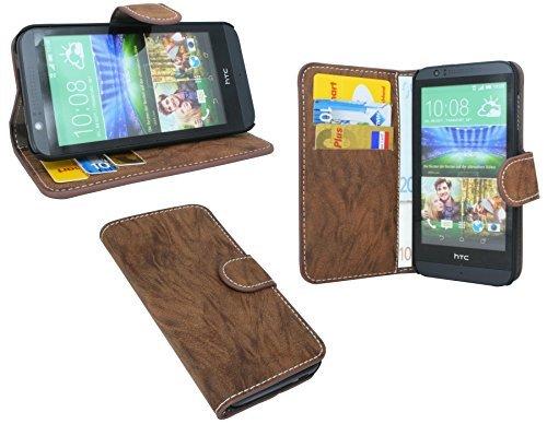 HTC Desire 510 Buchtasche Hülle Case Tasche Wallet BookStyle mit STANDFUNKTION Coffee-Braun @ Energmix