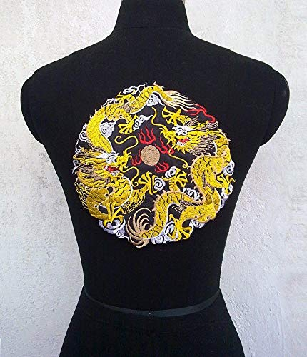 Parches bordados con diseño de dos dragones para ropa o prendas de dragón