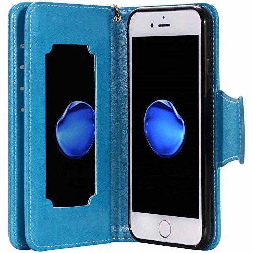 """iPhone 7 Hülle Leder Brieftasche Spiegel Entwurf, Bookstyle Flip Cover Case mit Funktion Kickstand Karte Halter Magnetverschluss für iPhone 7 4.7"""" Rosa Blau"""