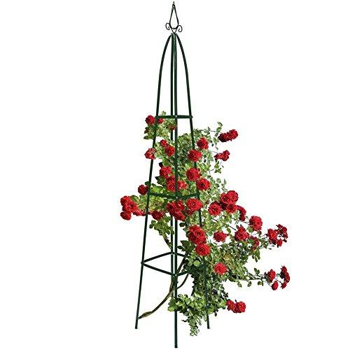 bakaji supporto per piante rampicanti obelisco arco da giardino forma piramide altezza 2 metri colore verde scuro