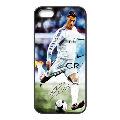 Sport Real Madrid Club de Futbol Cristiano Ronaldo Print Black Case With Hard Shell Cover for iPhone 5 Case &ipone 5S Case -JUST do it ,CR7 Classic style 8
