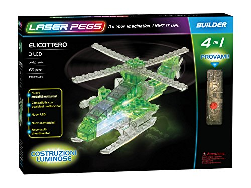 Laser Pegs 41012 Fußmatte Combat Copter in Building Set (Modell Car Race Kits)