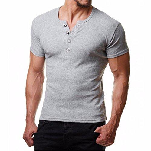 2018 Neue Mode Hemd Herren, DoraMe Männer Metall Rundknopf T-Shirt Kurze Ärmel Bluse Slim Fit Pollover Solide Top Sommer Lässig Sportlich Shirt (Grau, Asien Größe M) -