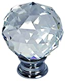 2x Ovo® LILY40Crystal Pull maniglie–40mm diametro cristallo–cristallo sfaccettatura in vetro–Base cromata–venduto come una confezione da 2pomelli in vetro–Qualità superiore–Marchio–garantito.