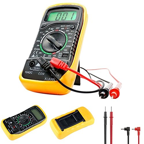 Multímetro, XL830L LCD Digital voltímetro Ohmmeter Ammeter OHM Multímetro Electrical Tester Circuit Checker Voltaje Corriente Resistencia Medición Continuidad, amarillo