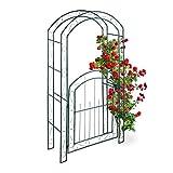 Relaxdays Rosenbogen mit Tür, Garten Rankhilfe Kletterpflanzen, Torbogen Metall, wetterfest, HBT 215 x 115 x 43 cm, grün
